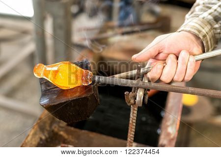 Handmade figures of melted glass - selective focus, copy space