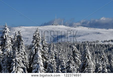 Snowdrifts on winter snow covered mountainside, fir trees on hill top and sun shine in blue sky