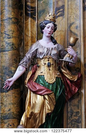 KOTARI, CROATIA - SEPTEMBER 16: Statue of Saint Barbara on the Saint Mary altar in the church of Saint Leonard of Noblac in Kotari, Croatia on September 16, 2015.