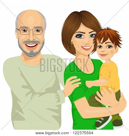 Portrait of happy granddad, mother and her son isolated on white background