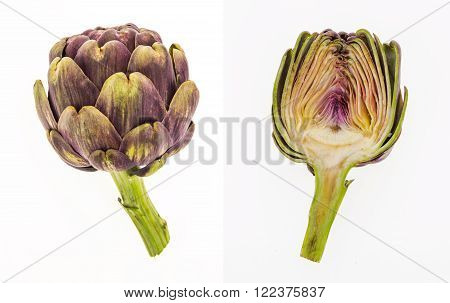 Purple Artichoke And Half Artichoke, Isolated On White Background.