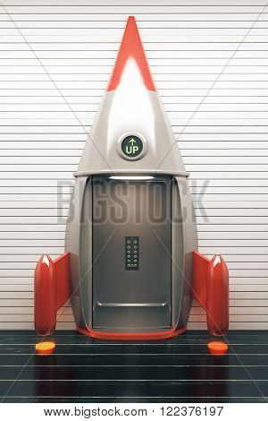Success concept with open rocket elevator. 3D Render