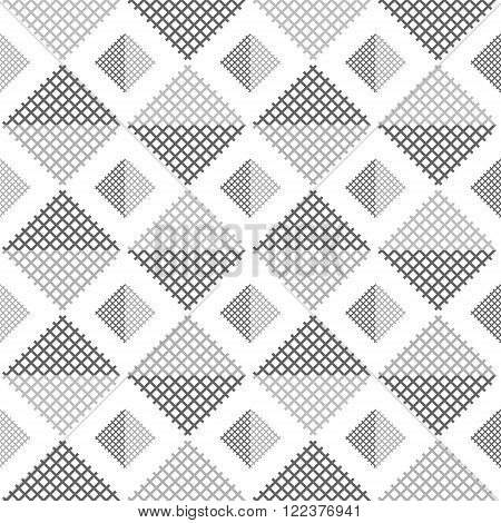 Abstract seamless pattern of square lattices in dark and light shades of gray on white background. Simple contrasting geometric print. Vector illustration for various creative projects