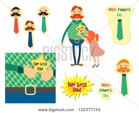 Happy Fathers Day concept with happy father and his daughter. Dad with tie for sticker banner web poster print. Vector
