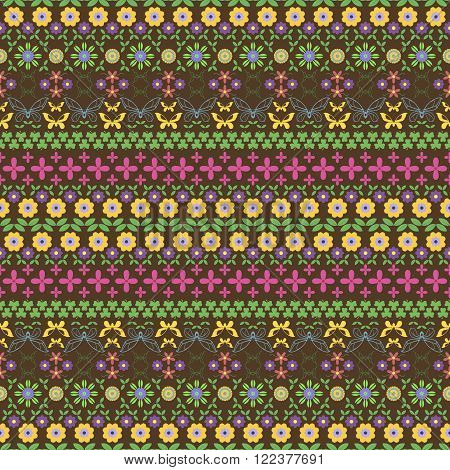Seamless motley summer pattern. Horizontal chains of flowers twining stems leaves butterflies and trifoliate clovers forming beautiful variegated ornament. Vector illustration for creative design