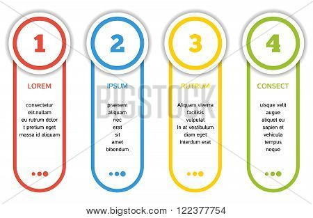 Set of 4 isolated banners in different colors - 4 step infographic with template text