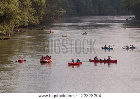 ATLANTA, GA - JULY 2015:  People raft, kayak and canoe along the  Chattahoochee River on a hot summer day in Atlanta, GA on July 25, 2015.