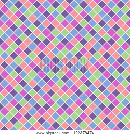 Seamless pattern made of saturated pastel color rhombuses with white lining