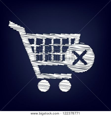 Shopping Cart and X Mark Icon, delete sign. Chalk effect on blue background