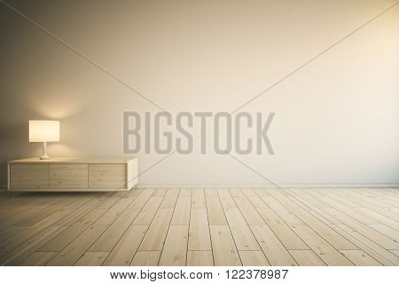 Room interior with empty painted wall, light wooden drawer cabinet with lamp and parquet. Mock up, 3D Redner