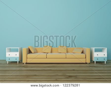Light brown sofa and bedside-tables in light-blue room with wooden floor. 3D Render