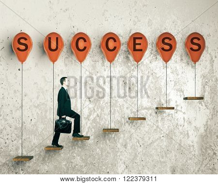 Success concept with businessman walking upstairs on ledges with red balloons. 3D Render