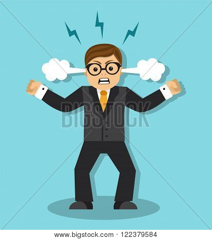 Angry businessman in a rage is tense and clenched his fists