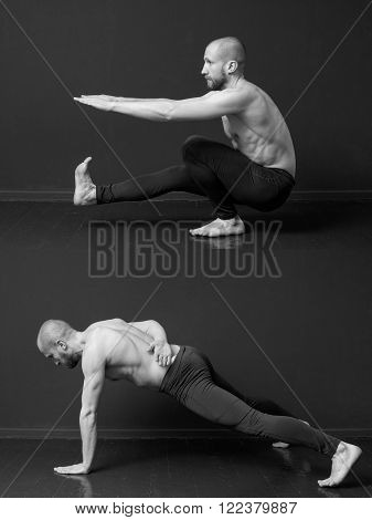 The complex of bodyweight exercises. Young man with naked torso is doing a pistol and one hand's push- ups** Note: Visible grain at 100%, best at smaller sizes