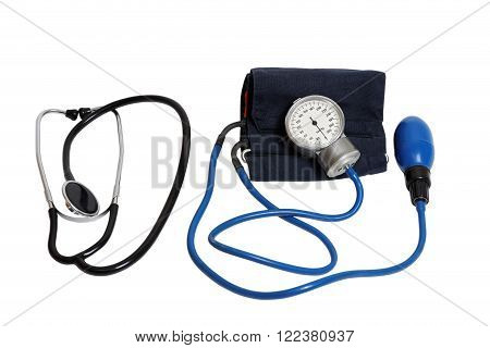 Medic Tools - Stethoscope And Tonometer Isolated On White