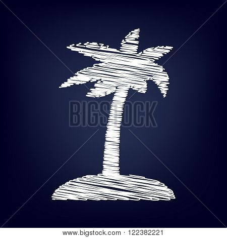 Coconut palm tree sign. Chalk effect on blue background