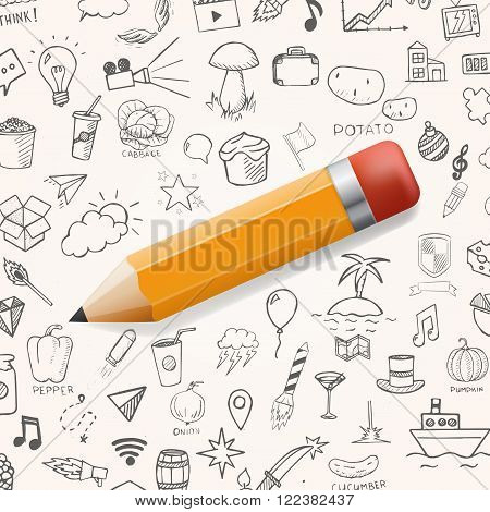 Yelow pencil with group of hand drawn icons. vector doodle objects