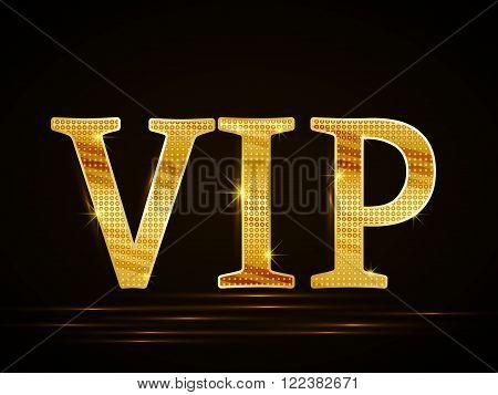 Vector black background of golden text VIP