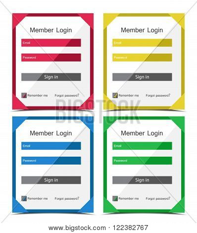Vector set of different colors login forms, flat UI design