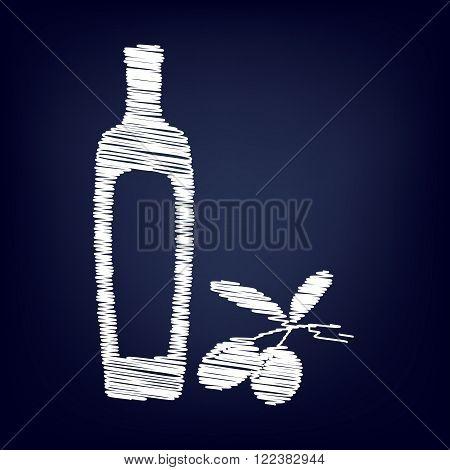 Black olives branch with olive oil bottle sign. Chalk effect on blue background