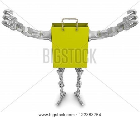 Propelled shopping bag with arms and legs. Hands raised up. The three-dimensional illustration. Isolated