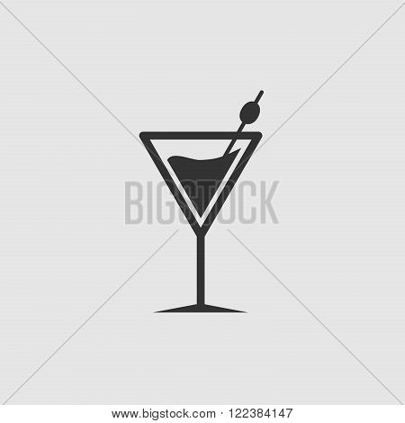 Cocktail Or Martini Simple Icon. Black On White Background