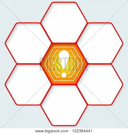 Set of five hexagons for your text and a exclamation mark