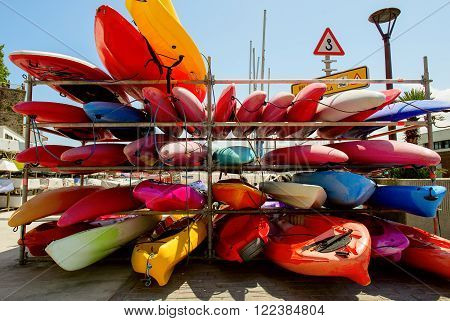 SAN SEBASTIAN, SPAIN JULY 12, 2015, canoes at the harbor of of Basque Country San Sebastian
