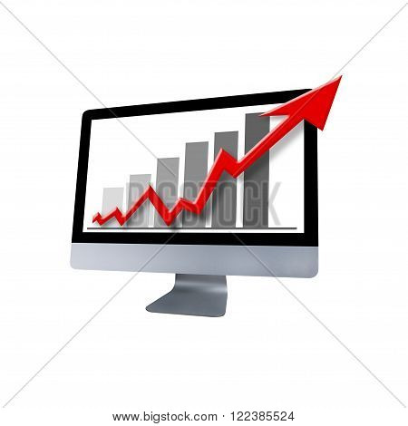 color photograph and graphic of a red arrow and graph showing increase and a business concept