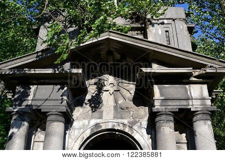 Fragment of crypt in the old Jewish cemetery on the outskirts of St. Petersburg Russia.