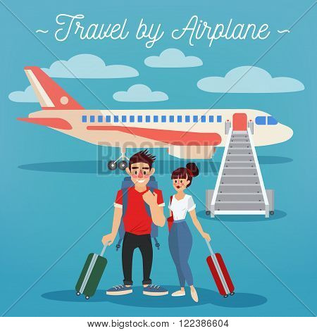 Airplane Travel. Travel Banner. Tourism Industry. Active People. Girl with Baggage. Man with Baggage. Happy Couple. Vector illustration. Flat Style