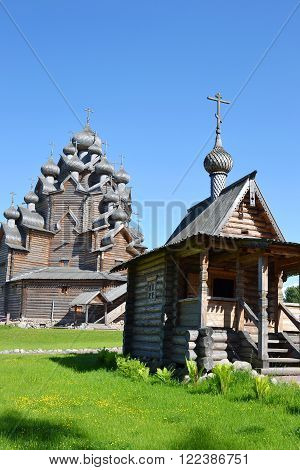 The complex Manor Bogoslovka in the style of Russian wooden architecture in the Nevsky Forest Park in St.Petersburg Russia.
