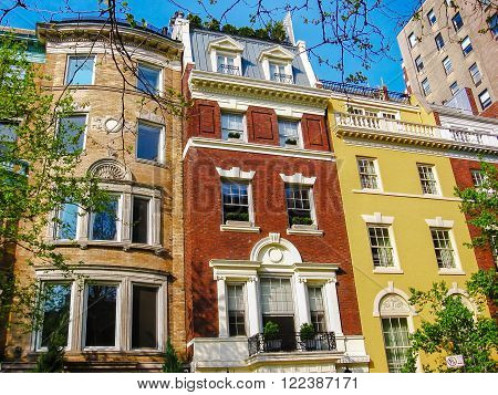 Historical colorful building facade in Lower East Side, New York City, United States.