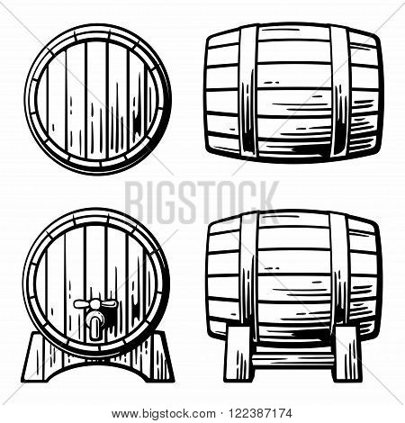Wooden barrel set engraving vector illustration. Isolated on white vintage background.