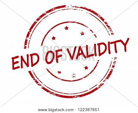 Rubber stamp with text end of validity inside vector illustration