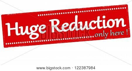 Rubber stamp with text huge only here reductions inside vector illustration