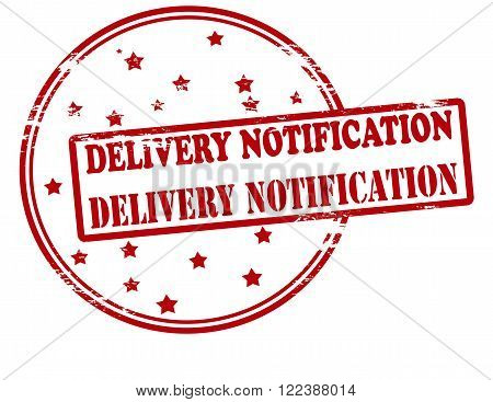 Rubber stamp with text delivery notification inside vector illustration