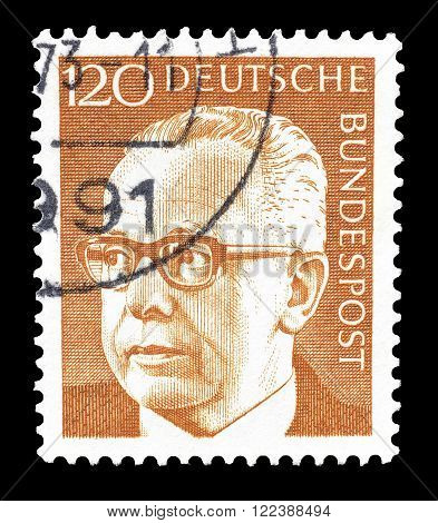 GERMANY - CIRCA 1971 : Cancelled postage stamp printed by Germany, that shows portrait of Gustav Heinemann.