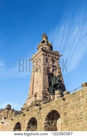Wilhelm I Monument on Kyffhaeuser Mountain Thuringia Germany under blue sky