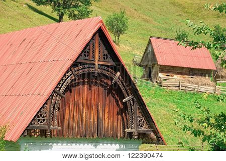 front decoration of traditional wooden house in Apuseni Mountain, Romania