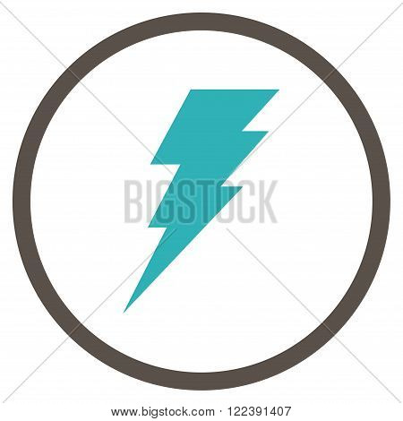 Execute vector bicolor icon. Picture style is flat execute rounded icon drawn with grey and cyan colors on a white background.