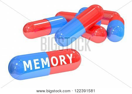 set of memory pills isolated on white background