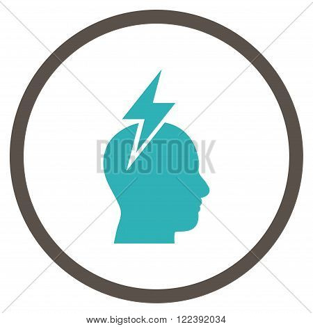 Head Pain vector bicolor icon. Picture style is flat headache rounded icon drawn with grey and cyan colors on a white background.
