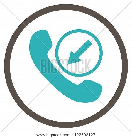 Incoming Call vector bicolor icon. Picture style is flat incoming call rounded icon drawn with grey and cyan colors on a white background.