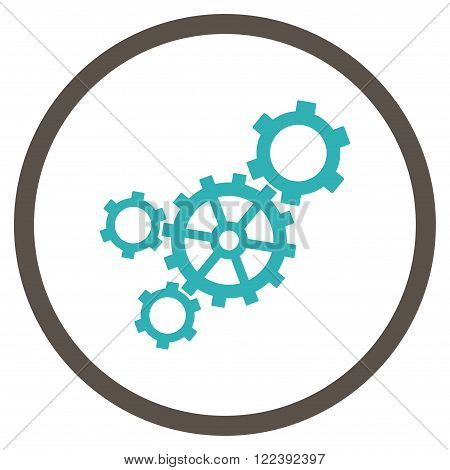 Mechanism vector bicolor icon. Picture style is flat mechanism rounded icon drawn with grey and cyan colors on a white background.