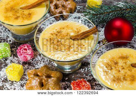 eggnog with cinnamon for christmas top view
