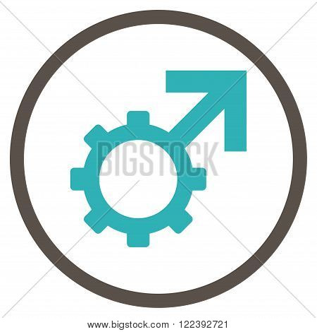 Technological Potence vector bicolor icon. Picture style is flat technological potence rounded icon drawn with grey and cyan colors on a white background.