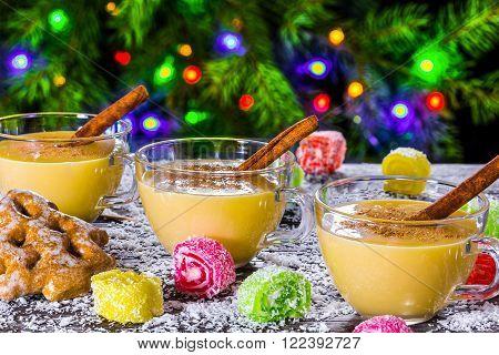 eggnog with cinnamon for christmas , top view