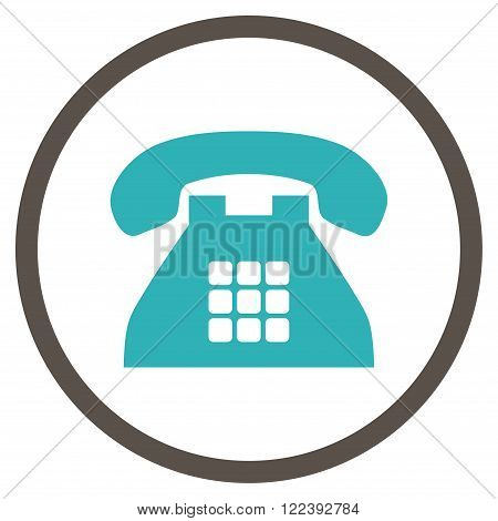 Tone Telephone vector bicolor icon. Picture style is flat tone phone rounded icon drawn with grey and cyan colors on a white background.