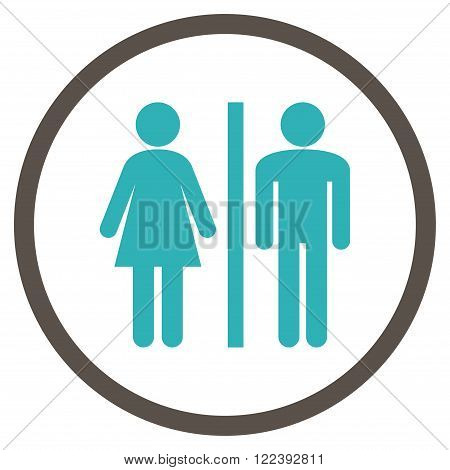 Lavatory Persons vector bicolor icon. Picture style is flat WC persons rounded icon drawn with grey and cyan colors on a white background.